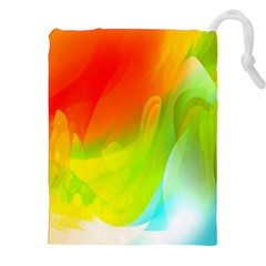 Red Yellow Green Blue Rainbow Color Mix Drawstring Pouches (xxl)