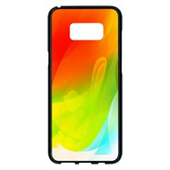 Red Yellow Green Blue Rainbow Color Mix Samsung Galaxy S8 Plus Black Seamless Case
