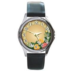 Rose Sunflower Star Floral Flower Frame Green Leaf Round Metal Watch