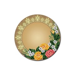 Rose Sunflower Star Floral Flower Frame Green Leaf Rubber Round Coaster (4 Pack)
