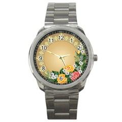 Rose Sunflower Star Floral Flower Frame Green Leaf Sport Metal Watch