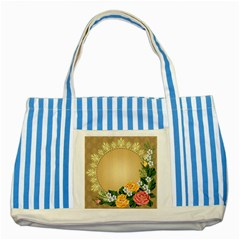 Rose Sunflower Star Floral Flower Frame Green Leaf Striped Blue Tote Bag