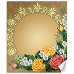 Rose Sunflower Star Floral Flower Frame Green Leaf Canvas 20  X 24