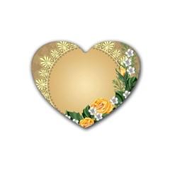 Rose Sunflower Star Floral Flower Frame Green Leaf Rubber Coaster (heart)