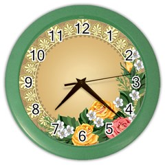 Rose Sunflower Star Floral Flower Frame Green Leaf Color Wall Clocks