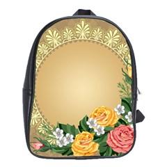 Rose Sunflower Star Floral Flower Frame Green Leaf School Bag (large)