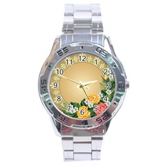 Rose Sunflower Star Floral Flower Frame Green Leaf Stainless Steel Analogue Watch