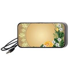 Rose Sunflower Star Floral Flower Frame Green Leaf Portable Speaker (black)