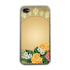 Rose Sunflower Star Floral Flower Frame Green Leaf Apple Iphone 4 Case (clear)