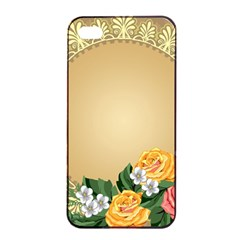Rose Sunflower Star Floral Flower Frame Green Leaf Apple Iphone 4/4s Seamless Case (black)