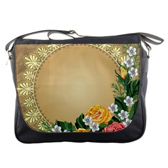 Rose Sunflower Star Floral Flower Frame Green Leaf Messenger Bags