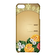 Rose Sunflower Star Floral Flower Frame Green Leaf Apple Ipod Touch 5 Hardshell Case With Stand