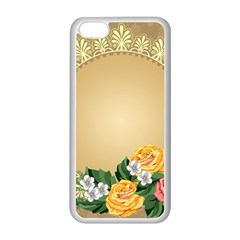 Rose Sunflower Star Floral Flower Frame Green Leaf Apple Iphone 5c Seamless Case (white)