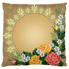 Rose Sunflower Star Floral Flower Frame Green Leaf Large Flano Cushion Case (two Sides)