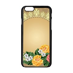 Rose Sunflower Star Floral Flower Frame Green Leaf Apple Iphone 6/6s Black Enamel Case