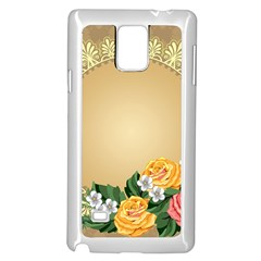 Rose Sunflower Star Floral Flower Frame Green Leaf Samsung Galaxy Note 4 Case (white)