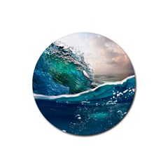 Sea Wave Waves Beach Water Blue Sky Rubber Coaster (round)