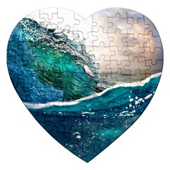 Sea Wave Waves Beach Water Blue Sky Jigsaw Puzzle (heart)