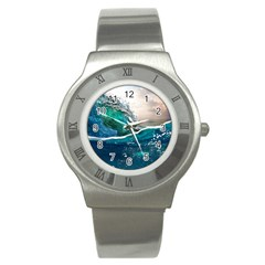 Sea Wave Waves Beach Water Blue Sky Stainless Steel Watch
