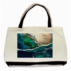 Sea Wave Waves Beach Water Blue Sky Basic Tote Bag (two Sides)