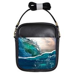 Sea Wave Waves Beach Water Blue Sky Girls Sling Bags