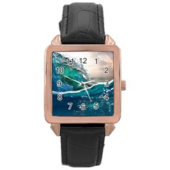 Sea Wave Waves Beach Water Blue Sky Rose Gold Leather Watch