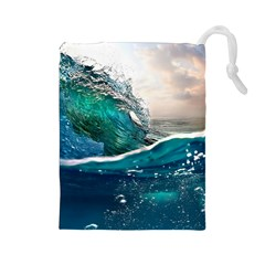 Sea Wave Waves Beach Water Blue Sky Drawstring Pouches (large)