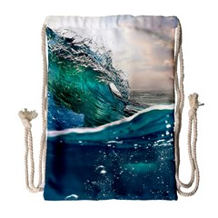 Sea Wave Waves Beach Water Blue Sky Drawstring Bag (large)