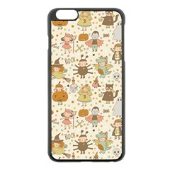Sinister Helloween Cat Pumkin Bat Ghost Polka Dots Vampire Bone Skull Apple Iphone 6 Plus/6s Plus Black Enamel Case