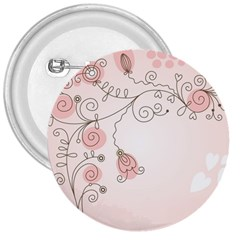 Simple Flower Polka Dots Pink 3  Buttons