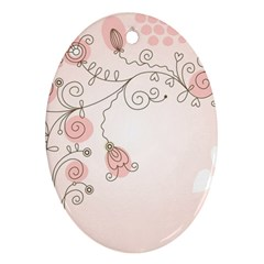 Simple Flower Polka Dots Pink Ornament (oval)