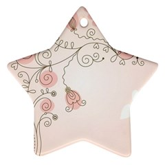 Simple Flower Polka Dots Pink Ornament (star)