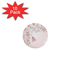 Simple Flower Polka Dots Pink 1  Mini Buttons (10 Pack)