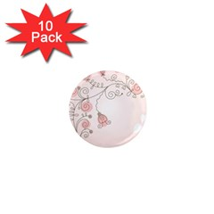 Simple Flower Polka Dots Pink 1  Mini Magnet (10 Pack)