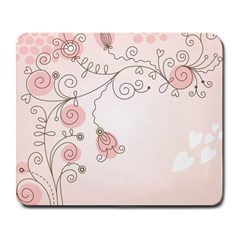 Simple Flower Polka Dots Pink Large Mousepads