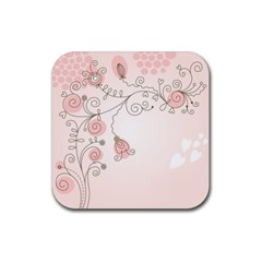 Simple Flower Polka Dots Pink Rubber Square Coaster (4 Pack)