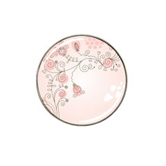 Simple Flower Polka Dots Pink Hat Clip Ball Marker (4 Pack)