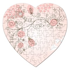 Simple Flower Polka Dots Pink Jigsaw Puzzle (heart)