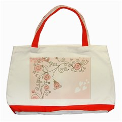 Simple Flower Polka Dots Pink Classic Tote Bag (red)