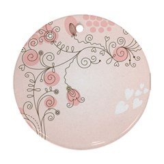 Simple Flower Polka Dots Pink Round Ornament (two Sides)