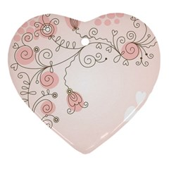 Simple Flower Polka Dots Pink Heart Ornament (two Sides)