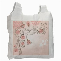 Simple Flower Polka Dots Pink Recycle Bag (one Side)