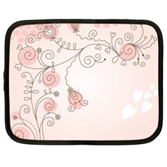 Simple Flower Polka Dots Pink Netbook Case (xxl)