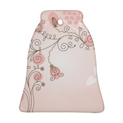 Simple Flower Polka Dots Pink Ornament (bell)