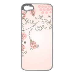 Simple Flower Polka Dots Pink Apple Iphone 5 Case (silver)