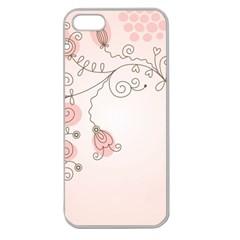 Simple Flower Polka Dots Pink Apple Seamless Iphone 5 Case (clear)