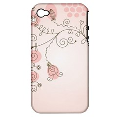 Simple Flower Polka Dots Pink Apple Iphone 4/4s Hardshell Case (pc+silicone)