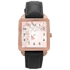Simple Flower Polka Dots Pink Rose Gold Leather Watch