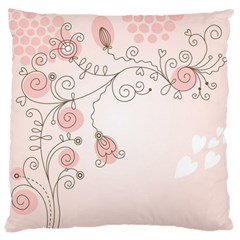 Simple Flower Polka Dots Pink Large Flano Cushion Case (two Sides)