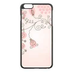 Simple Flower Polka Dots Pink Apple Iphone 6 Plus/6s Plus Black Enamel Case
